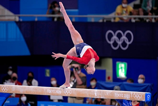 July 27, 2021; Grace McCallum (USA) competes on the beam in the women's team final during the Tokyo 2020 Olympic Summer Games at Ariake Gymnastics Centre.