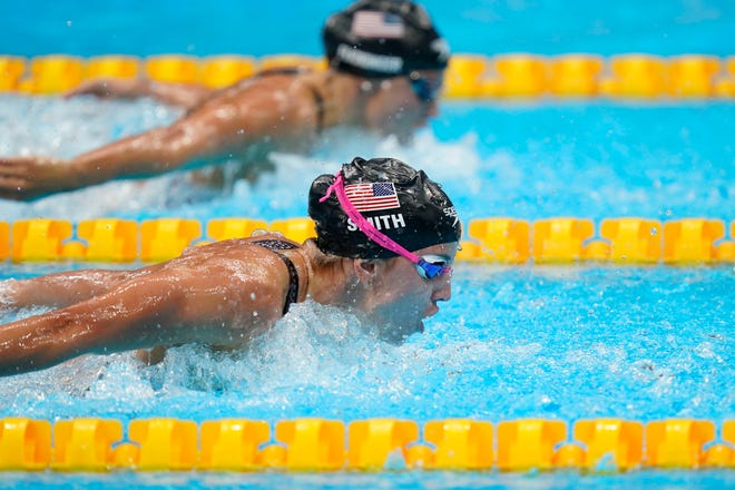 Swimmers Regan Smith, front, and Hali Flickinger will both represent Team USA in the finals of the women's 200-meter butterfly on Thursday.