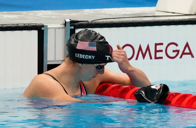 Katie Ledecky finished the women's 200m freestyle final in fifth place, then had to regroup for the 1500 free final later in the day.