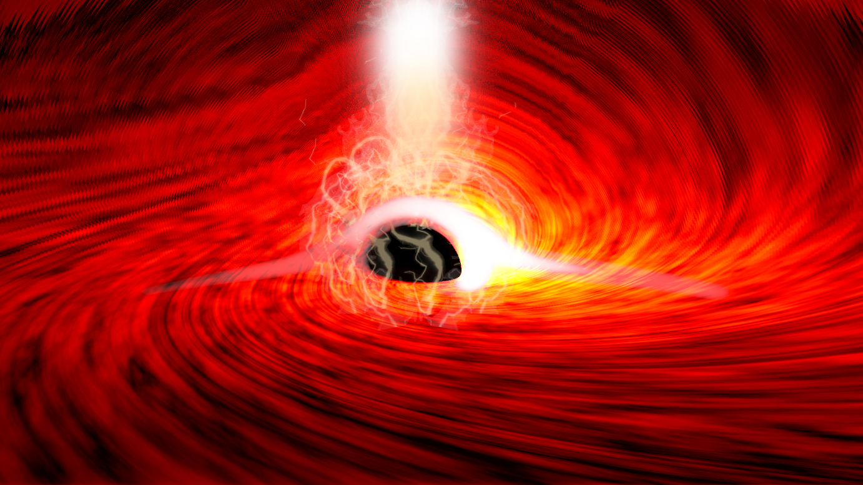 An illustration shows a black hole.