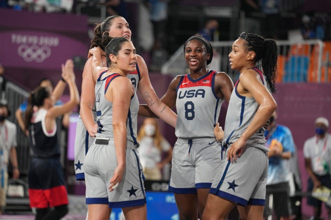 USA reacts after beating ROC in the gold medal game during the Tokyo 2020 Olympic Summer Games at Aomi Urban Sports Park on July 28, 2021.