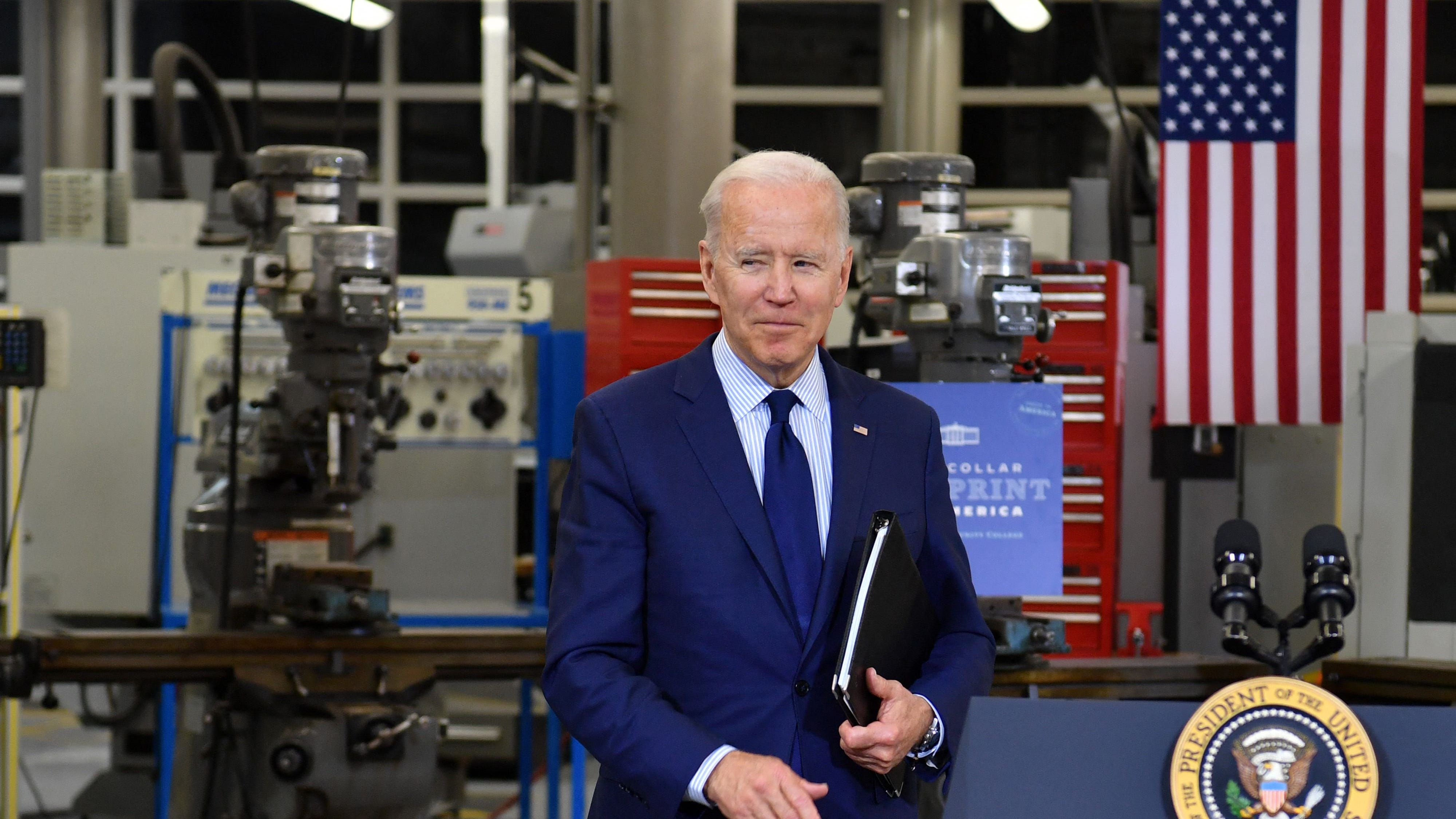US President Joe Biden looks on after speaking on the economy at Cuyahoga Community College Manufacturing Technology Center, on May 27, 2021, in Cleveland, Ohio.