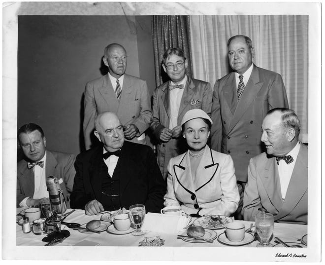 Oveta Culp Hobby was one of the most powerful women in Texas, especially in tandem with her husband, Gov. William P. Hobby. FDR named her head of the Women's Army Corps and Eisenhower made her the first secretary of the Department of Health Education and Welfare. She and her husband combined politics and journalism seamlessly. Here she is photographed with a group of powerful men in 1953 by Edward Bourdon.