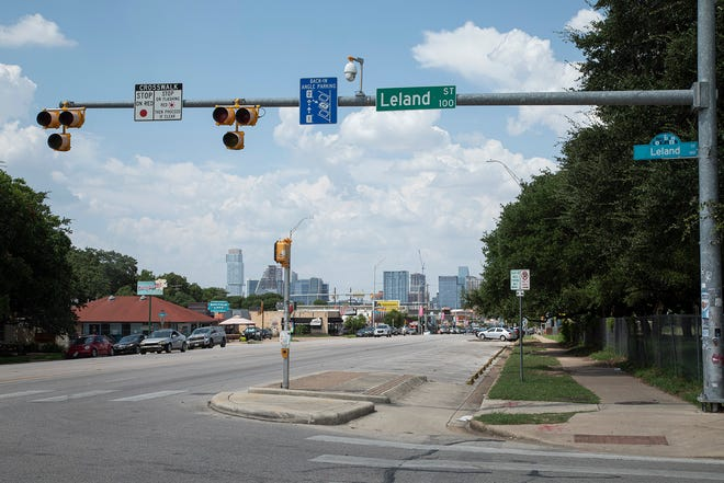 In this July 28 photo, the skyline is visible on South Congress and Leland Street, a potential site for the Orange Line to emerge south of the river. Austin Transit Partnership is considering plans to build light rail that would go under Lady Bird lake. [AMERICAN-STATESMAN/FILE]