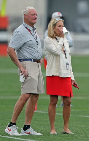Cleveland Browns owners Jimmy and Dee Haslam watch their team practice during NFL football training camp, Thursday, July 29, 2021, in Berea, Ohio.