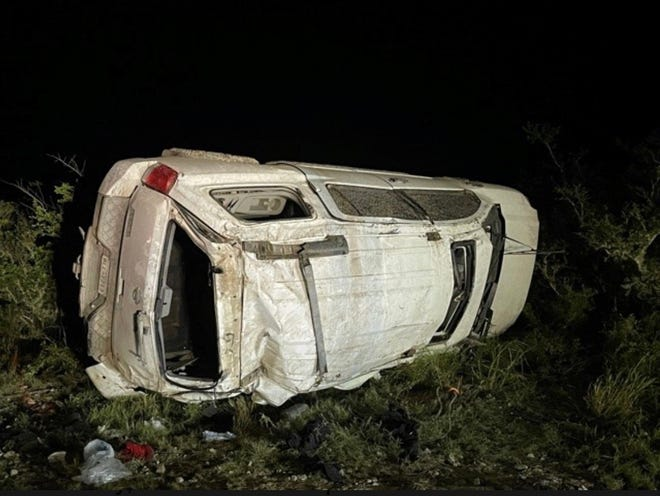 Two men die after single vehicle accident near Benavides.