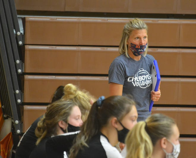 Cheboygan varsity volleyball coach Kris Jewell looks on during a match at the 2020 Pellston Invitational. Jewell has had a strong coaching tenure at Cheboygan, guiding the program to multiple Straits Area Conference titles and a district crown in 2005.