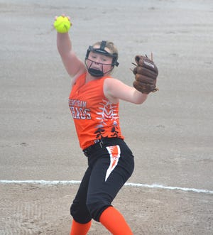 Cheboygan Chaos' Jordan Ashley fires a pitch during a game from last summer's Cheboygan 'Chaos Clash' tournament. The Cheboygan Chaos will feature 10-Under, 12U and 14U teams in this year's tournament, which begins on Friday afternoon.