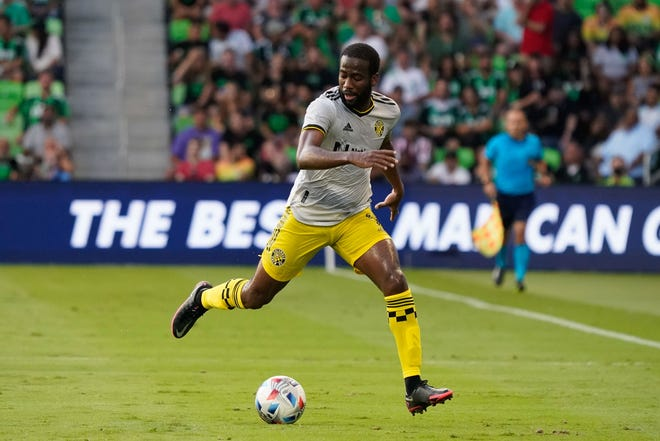 Jun 27, 2021; Austin, TX, USA; Columbus Crew forward Kevin Molino (9) catches up to ball during the first half of the game against Austin FC at Q2 Stadium. Mandatory Credit: Scott Wachter-USA TODAY Sports