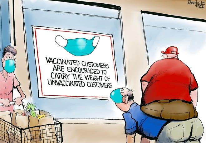 Bill Bramhall cartoon about vaccines