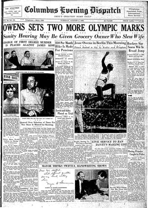 Columbus Evening Dispatch front page, August 4, 1936 edition - Jesse Owens at the 1936 Olympics
