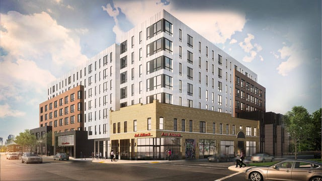 The University Impact District Review Board has cleared the way for this seven-story apartment building at North High Street and King Avenue.