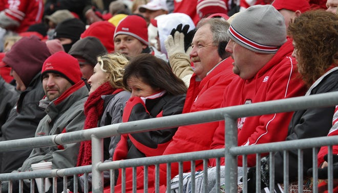 """""""Playing us in a snowstorm, no question our people would like to see that,"""" said athletics director Gene Smith. Here fans are bundled up for the 2008 game between Ohio State and Michigan."""