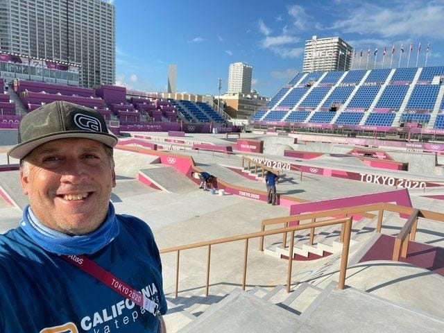 Bill Minadeo, who grew up skateboarding in Westerville, stands in the street skateboarding course at the Olympics in Tokyo, a course he helped design with the company where he is vice president, California Skateparks.