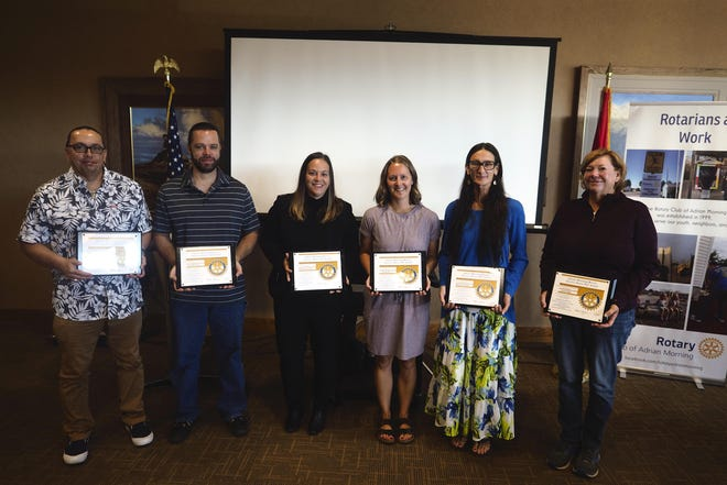 Lenawee County awardees of Adrian Morning Rotary's Service Above Self (SAS) awards are pictured. They are, from left, Todd Harder, Todd McIntyre, Ashley Gonzalez, Jill Sysko, Melissa Archer and Janet High. Other awardees not pictured include Emma Salazar and Mary Speelman.