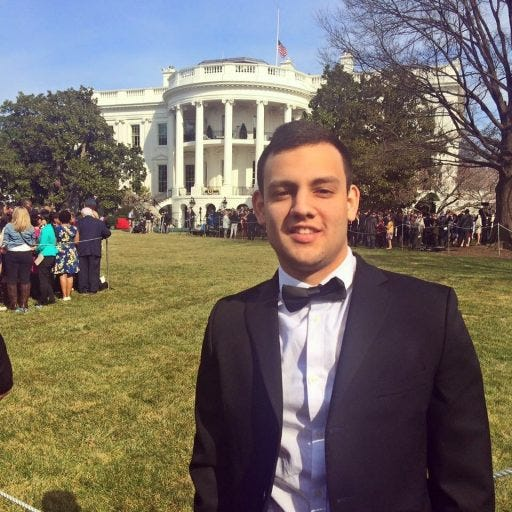 Republican strategist Alex Alvarado, shown in a photo during his internship in Washington D.C., while a student at the University of Central Florida in 2016, set up the political committees that funded independent candidates in three state Senate races in 2020, including one who's facing criminal charges. Alvarado has not been charged.