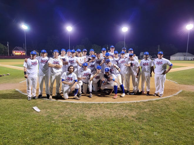 The Hornell Dodgers celebrate after winning the 2021 NYCBL Western Division Championship Wednesday night at Maple City Park.