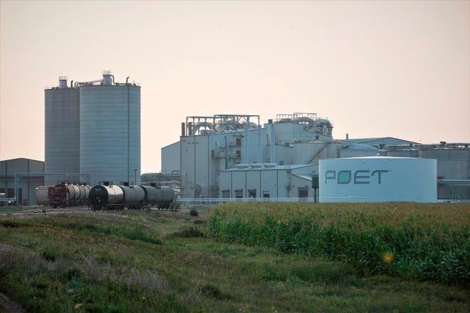 Project developers plan to build carbon capture pipelines connecting dozens of Midwestern ethanol refineries. Poet, the country's largest producer of biofuels, operates this refinery in Chancellor, South Dakota, shown on Thursday, July 22, 2021. The company has not indicated whether it will connect its ethanol refineries to the carbon capture pipelines.