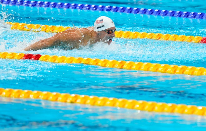 Caeleb Dressel (USA) races the men's 100m butterfly heats during the Tokyo 2020 Olympic Summer Games at Tokyo Aquatics Centre on July 29, 2021. Mandatory Credit: Grace Hollars-USA TODAY Sports