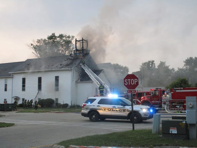 Geneseo firefighters responded to a fire at the former Baptist Church at the corner of Pearl and Center in Geneseo Thursday night.