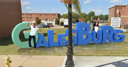 """A proposed """"GALESBURG"""" sign, with letters (4'-6' tall) would sit in the former O.T. Johnson lot and stay up year-round."""