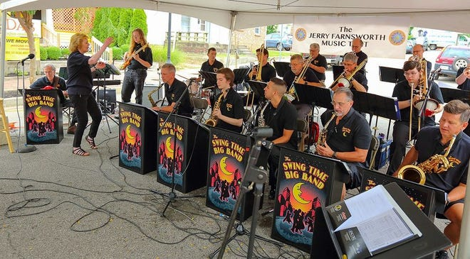Janis Stockhouse conducts the Swing Time Big Band in this file photo. The band has evolved into the Bloomington Jazz Orchestra and will give its first performances in August.