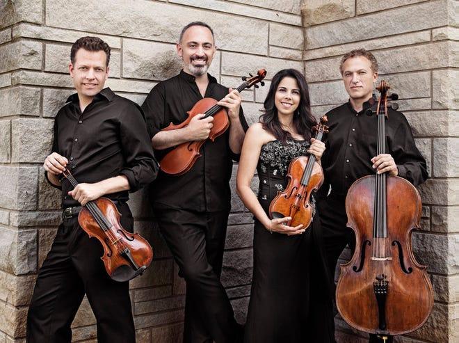 The Pacifica Quartet brings together Austin Hartman, violin; Mark Holloway, viola; Simin Ganatra, violin; and Brandon Vamos, cello.