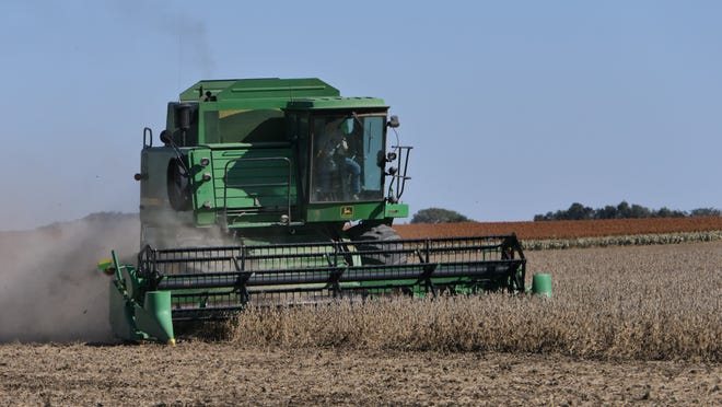 Jenny Brugess harvesting on the family farm in Sterling, Kans.