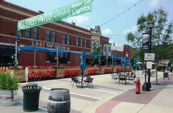 Mill Street in downtown North Utica is closed to traffic, to accommodate outdoor dining and drinking. The village located just north of Starved Rock State Park becomes a hot spot during tourist season.