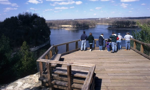 The view from an overlook at Starved Rock State Park, located along the Illinois River west of Ottawa.