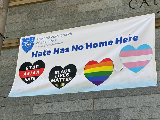 The Cathedral Church of St. Paul at 138 Tremont St. across from the Boston Common has a clear message hanging on the front of the church.