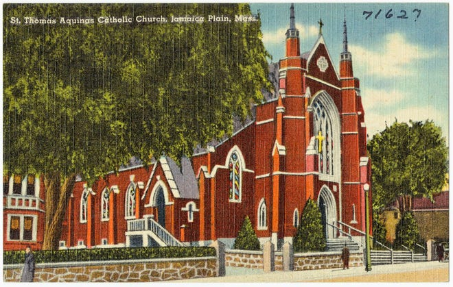 St. Thomas Catholic Church on South Street in Jamaica Plain was established in 1869 and dedicated on Aug. 17, 1873 - the year before Jamaica Plain was annexed to Boston. This postcard shows the church sometime between 1930 and 1945.