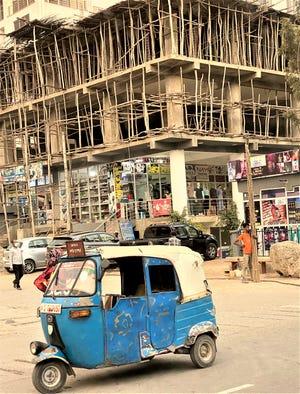 Busy street corner.