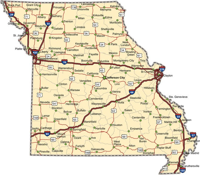 Highway map of the state of Missouri.
