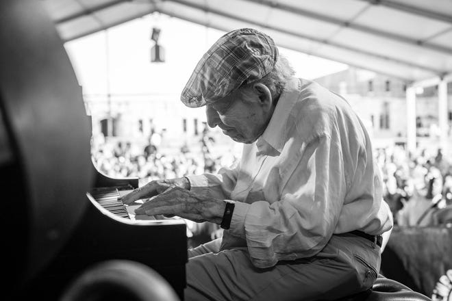 """George Wein performs in 2019 at the Bridgefest concert at Fort Adams Park. Wein's """"One More Once"""" show was billed as the final performance for the founder of the Newport Jazz Festival."""
