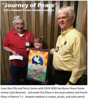 Van Buren Lions Club members Don Ellis and Terry Carson with last year's winner, Julia Sherman. She took first place in the contest and fourth place in District 7-1.