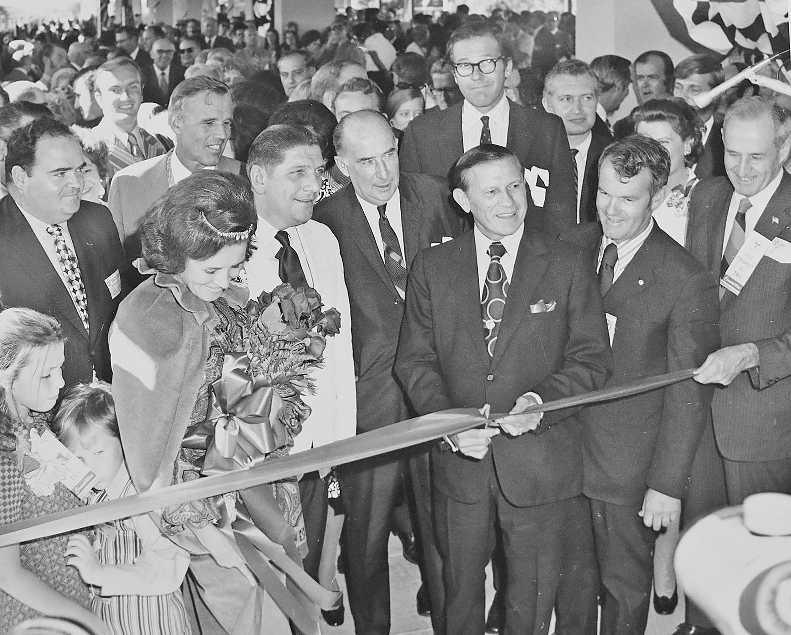 A photograph of the ribbon cutting of the Red Line extension in Quincy from the collection of Bradley Clarke, of Boston, transit historian and president of The Boston Street Railway Association.