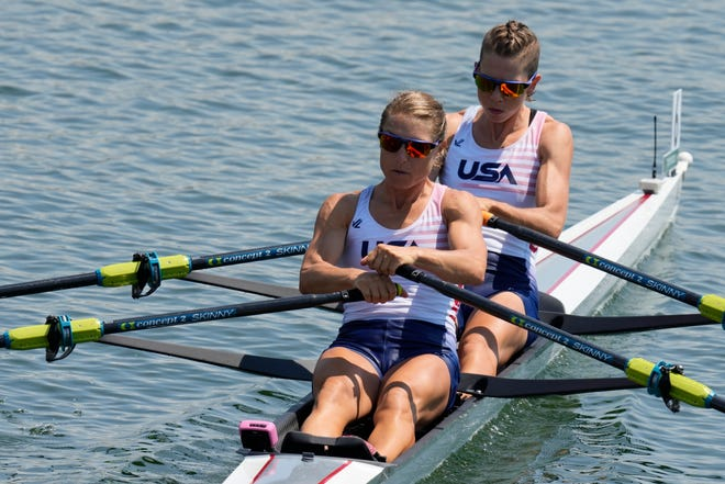 Michelle Sechser, a native Californian who now resides in Portsmouth, and Molly Reckford compete in the lightweight women's double sculls at the 2020 Summer Olympics. The pair placed fifth in the finals.