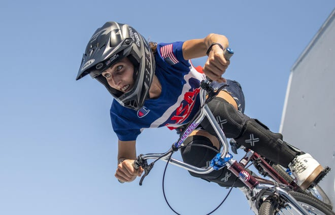 BMX rider Chelsea Wolfe trains at the 2020 Summer Olympics in Tokyo in July.