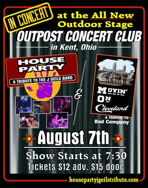 Poster for the band House Party's show at Outpost Concert Club