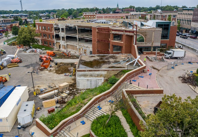 Construction continues at the former Liberty Mutual Insurance building, which will become a new Mishawaka city services center. In this view, the northwest walls are being removed to make way for a two-story glass wall for new council chambers.