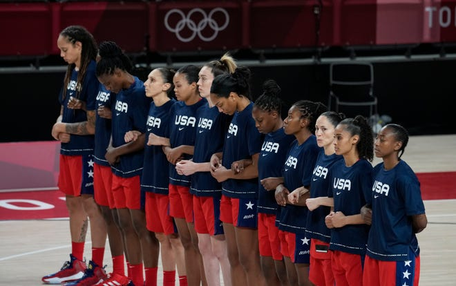 South Bend native and former Notre Dame star Skylar Diggins-Smith, second from right, is a member of the U.S. Olympic women's basketball team, playing for her childhood hero.
