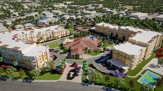 The Alloro will feature three four-story buildings with 183 apartments offered at market rates and a 14,000-square-foot clubhouse that will be the focal point of active living.