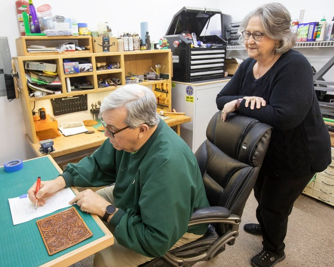Bob and Patty Frakes work in their Oklahoma City leather shop, Frakes Designs, and utilize time-honored techniques and modern technology to create art.