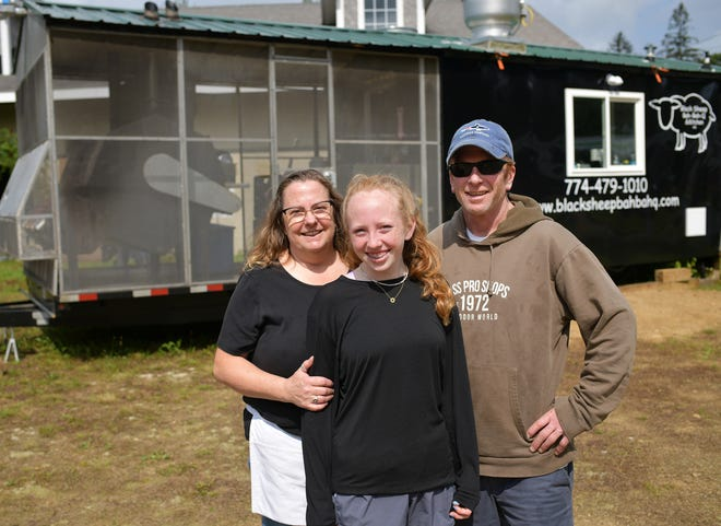 Jennifer Wright, Jordan Flynn and Patrick Flynn outside of their food truck, Black Sheep Bah-Bah-Q, on  Route 9 in Leicester.