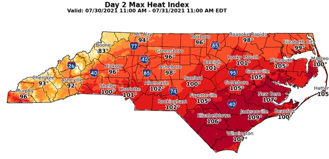The heat index across the Cape Fear region should peak this weekend.