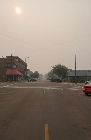 The skies in Watertown were hazy Thursday as smoke from wildfires in Montana and Canada blocked the sun. The smoke could also be smelt in town. Cooler temperatures pushed the smoke closer to the ground, according to Watertown Fire Rescue.