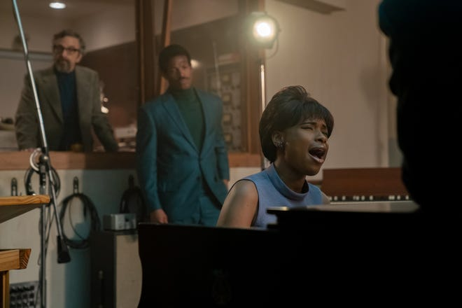 """Marc Maron portrays Jerry Wexler, Marlon Wayans plays Ted White and Jennifer Hudson stars as Aretha Franklin in """"Respect."""""""