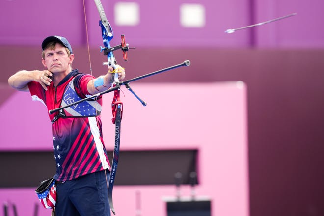 Jacob Wukie of Fremont lets it fly in a men's team quarterfinal on Monday against Japan during the Tokyo Olympic Summer Games at Yumenoshima Archery Field. The US team lost to Japan but Wukie earned a spot as an individual competitor in the round of 16 with a victory on Thursday.