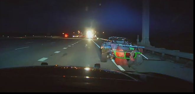 The Florida Highway Patrol is looking for information on a homemade race car left in a lane of Interstate 75 in North Fort Myers on Wednesday that led to a crash and serious injuries for one person.